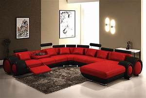 Red and black leather sectional sofa sofa the honoroak for Dark red leather sectional sofa