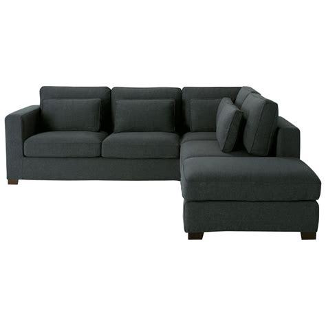 canapé d angle en canapé d 39 angle 5 places en tissu anthracite