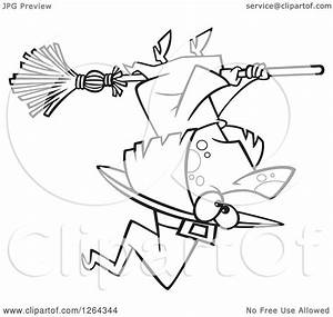 Clipart of a Black and White Cartoon Halloween Witch ...