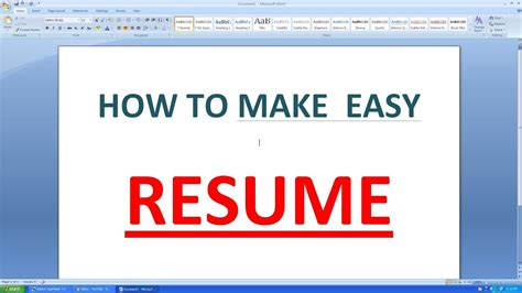 How To Make A Simple Resume In Word by How To Make An Simple Resume In Microsoft Word