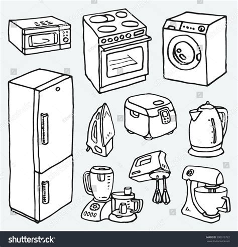 Cartoon Handdrawn Household Appliances Cooking Cleaning