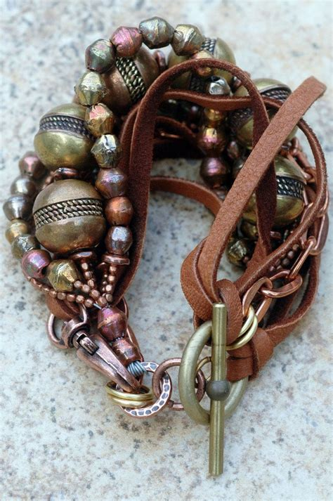 Rustic Copper, Brass, Chain and Leather Bohemian Statement ...