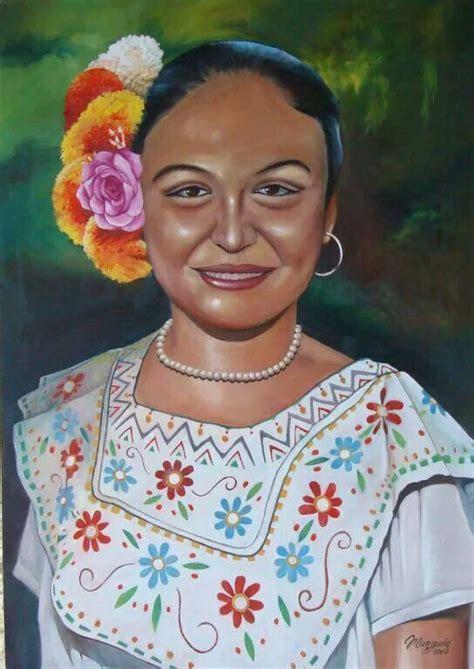hermosa pintura de la mujer yucateca simbolos celtas mexico lindo yucatan