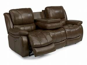 Power reclining leather sofa smileydotus for Leather sectional sofa with electric recliners
