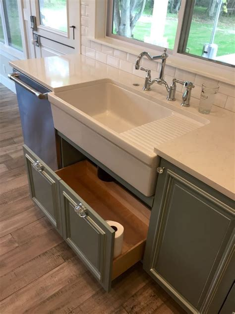 sink drawers kitchen kitchen farmhouse apron sink with drain board grey 6561