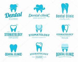Clínica dental logotipo, iconos y elementos de diseño Archivo Imágenes Vectoriales