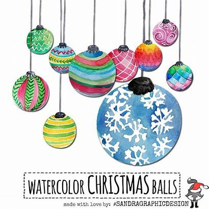 Christmas Clipart Painted Hand Watercolor Ornaments Clip