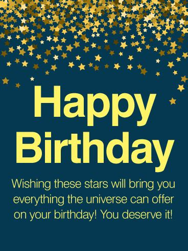 thousands stars happy birthday wishes card birthday