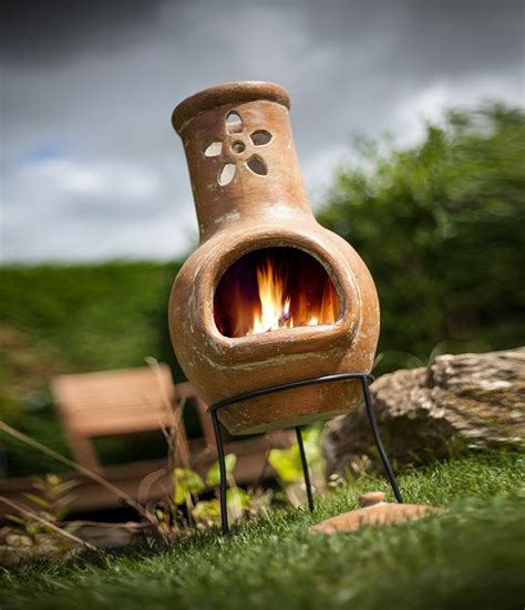 Small Clay Chiminea - chiminea patio fireplace ideas to stay warm in the outside