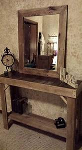 Reclaimed, Pallets, Wood, Entryway, Table, With, Mirror