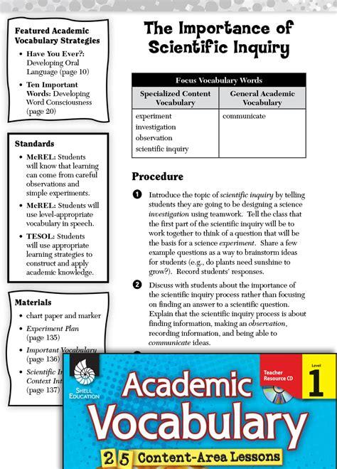 importance  scientific inquiry academic vocabulary