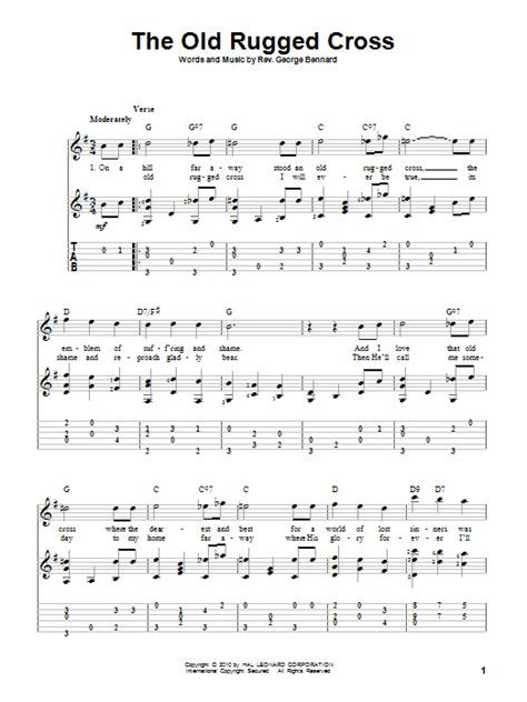 Old Rugged Cross Guitar Tab by The Old Rugged Cross By Rev George Bennard Solo Guitar