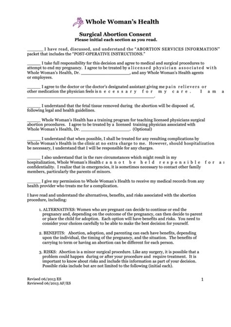 Surgical Abortion Consent printable pdf download