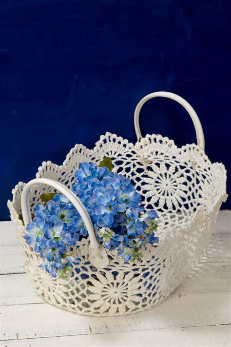stiffened lace basket  handles ivory