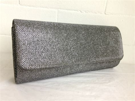 New Pewter Grey Glitter Evening Clutch Bag Silver Gold