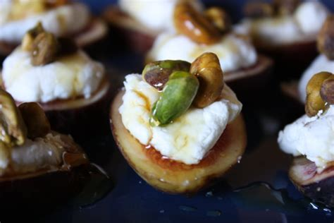 fresh figs with goat cheese pistachios and honey