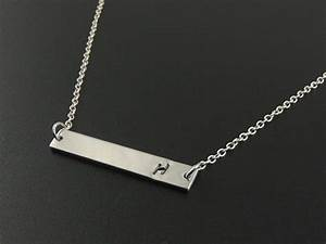 silver bar necklace sterling silver letter initial With letter bar necklace