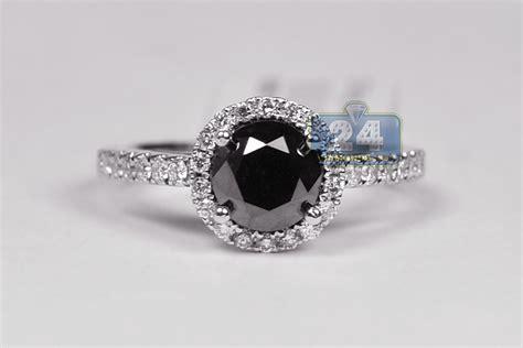 Womens Black Diamond Engagement Ring 2.14 Ct 18k White Gold