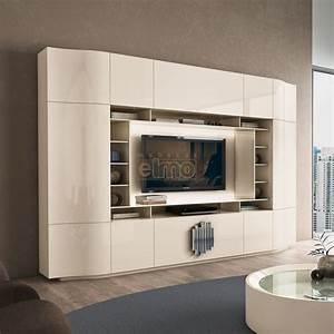 Meuble Tv Living : meuble tv living design moderne portes push laque ~ Teatrodelosmanantiales.com Idées de Décoration