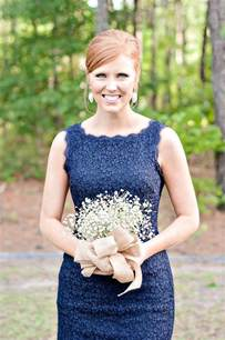 Navy Blue Dress and Bridesmaid Bouquets