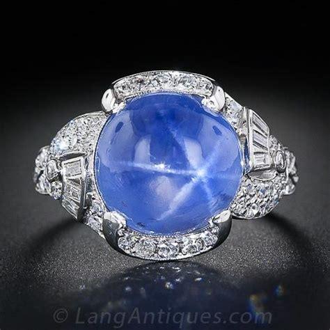 carat blue star sapphire  diamond art deco ring
