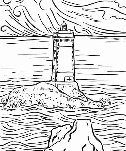 Coloring Lighthouse Pages Scenery Printable Adults Mountain