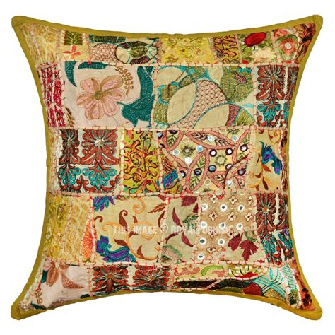 bohemian throw pillows 20x20 green handmade boho accent square throw pillow cover