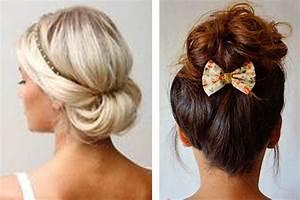 Coiffure Pour Cheveux Mi Longs : chignon mariage cheveux mi long coiffure mariage boheme jeux coiffure ~ Melissatoandfro.com Idées de Décoration