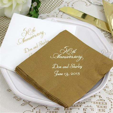 hearts wedding place card custom printed 50th wedding anniversary cocktail napkins