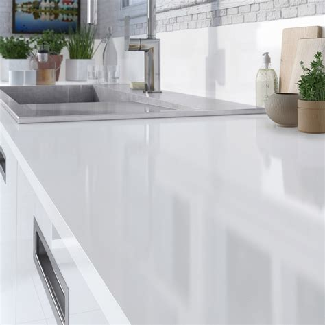 prix granit cuisine plan de travail stratifié blanc brillant l 315 x p 65 cm