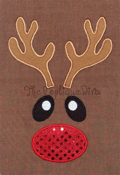 christmas reindeer face embroidery design machine applique