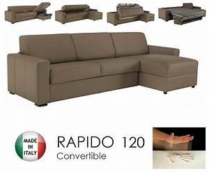 Canape d39angle dreamer rapido 120cm cuir eco taupe for Canapé d angle memoire de forme