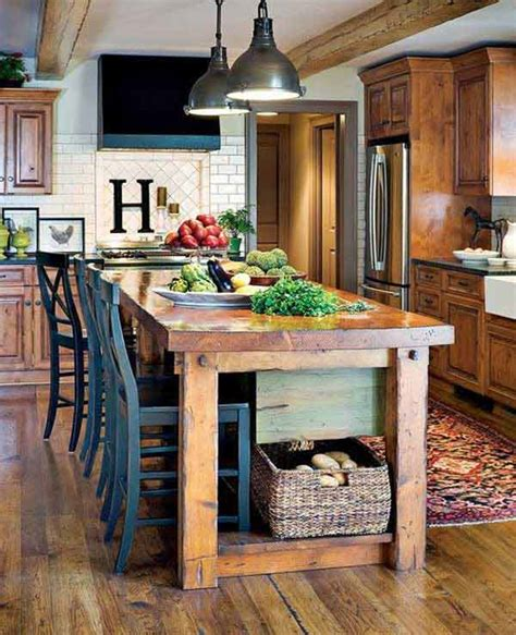 rustic kitchen island table 32 simple rustic kitchen islands diy craft projects