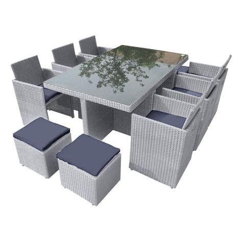 Salon De Jardin Encastrable Résine Tressée Gris, 10