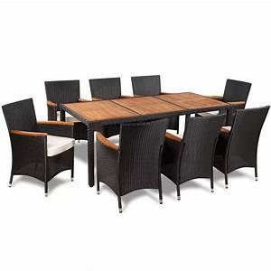 Tisch Mit Stühlen : poly rattan gartenset sitzgruppe mit 8 st hlen 1 tisch mit holzplatte g nstig kaufen ~ Orissabook.com Haus und Dekorationen