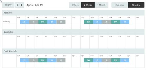 On Call Rotation Calendar Template by Opsgenie Docs
