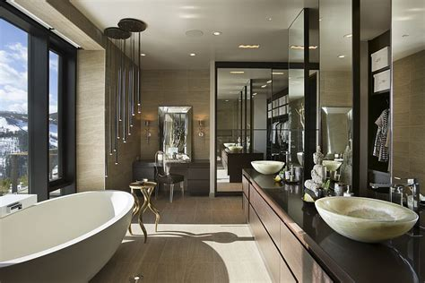 Master Bathroom Design Luxury Ski Resort In Montana By Len Cotsovolos