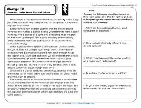charge   grade reading comprehension worksheet