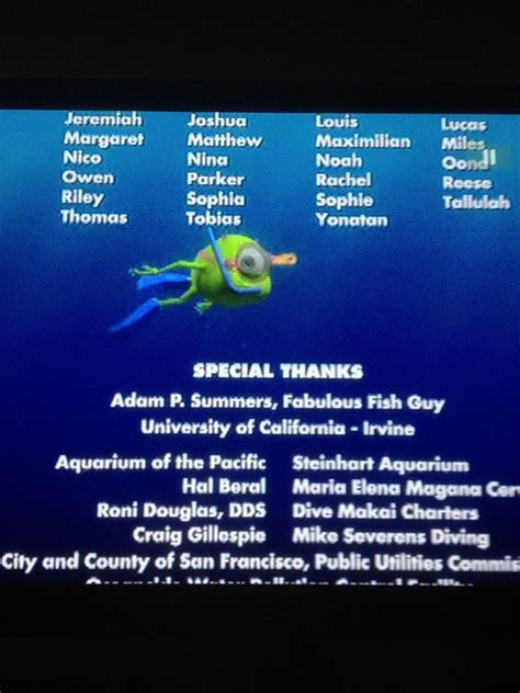 finding nemo end credits