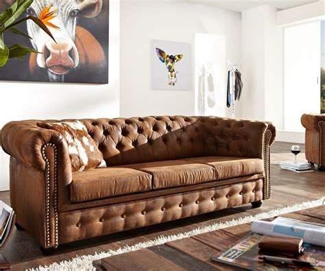 3sitzer Chesterfield Braun 200x92 Cm Antik Optik Sofa