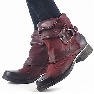 Wine Red Genuine Leather Women Ankle Boots Punk Style