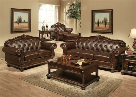 Formal Living Room Sets For Sale by 15030 Anondale Leather Sofa Set Acme Furniture Free