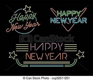 New year retro set label neon light star simple Happy new