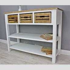 Konsole Sideboard Weiß Braun Massiv Holz