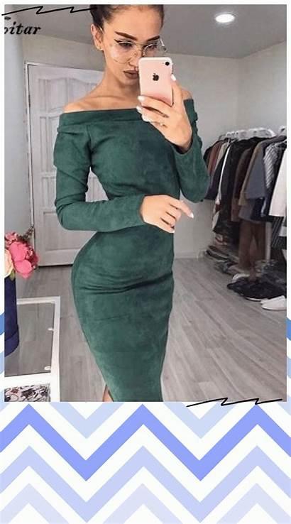 Bodycon Dresses Shoulder Midi Sleeve Warm Clothes