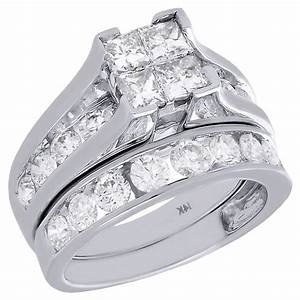 14k white gold quad princess diamond channel set wedding With 3 ct wedding ring set