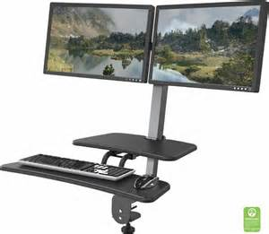 desk mounted sit stand workstation single monitor