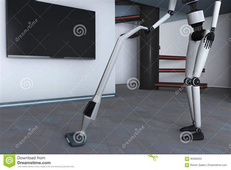 Housekeeping Robot Stock Illustration. Illustration Of