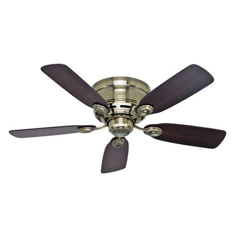 low mount ceiling fan shop hunter low profile iv 42 in antique brass flush mount
