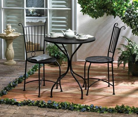 piece patio bistro set table   chairs black metal